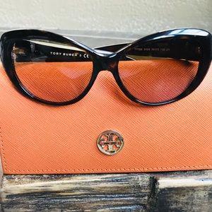 TORY BURCH Tortoise Brown Cat Eye Sunglasses Case